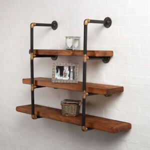 Wall Mounted Ladder Random Effect Shelving Unit - Steampunk Black & Brass Style!