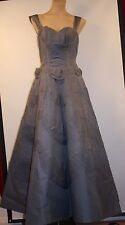 MEDIUM, 1950's BALL GOWN.ORIGINAL VINTAGE. GREY / BLUE SILK ORGANZA. WITH PETTI.