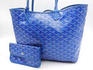 Auth GOYARD Saint Louis PM Shoulder Tote Bag PVC Canvas Leather Blue Pouch V5864