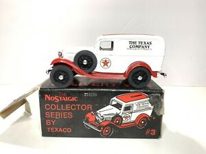 ERLT Die Cast Coin Bank TEXACO 1932 FORD SEDAN DELIVERY VAN #3 IN SERIES 1986