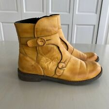 Jafa Womens Size 41 10 Handmade Israel Mustard Yellow Leather Boots Ankle Zip