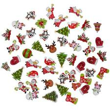 50pcs DIY 2 Holes Wooden Buttons Wood Christmas Cartoon Sewing Scrapbooking MZ