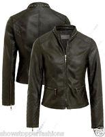 Size 8 10 12 14 16 NEW Womens BIKER JACKET QUILT FAUX LEATHER Ladies ZIP Coat