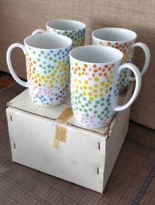 NEW - Set 4 Neiman Marcus Poppy Fitz & Floyd Coffee Mugs Cups Polka Dot