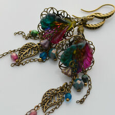 New Unique Statement Floral Boho Glass Charm Long Gypsy Lucite Earrings Jewelry