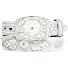 Original White Ostrich Leg Skin Fashion Style Belt