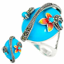 Turquoise Beauty Oval Costume Rings