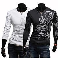 Fashion Men's Slim Fit Casual Dragon Tattoo Printed Round Neck T-Shirt Tee Tops
