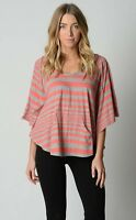 Ladies Urbane Casual Batwing Top with Hoody sizes Small Medium Large Grey Coral