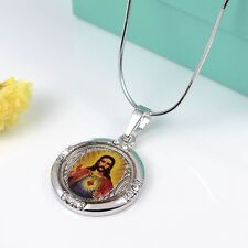 "18k White Gold Filled Jesus Pendant 18"" Necklace Charms Jewelry Lucky Gift"