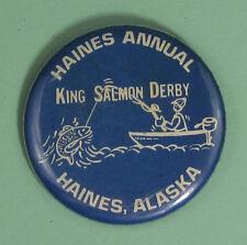 Vintage King Salmon Derby Haines Alaska Fishing Pin Button.Free Shipping!