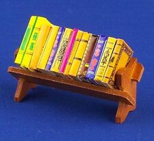 Dolls House Miniature 1/12th Scale Assorted Books on a Rack