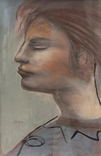 GREAT JOSEF PRESSER GOUACHE PASTEL PAINTING TITLED HELOISE (TALK ABOUT ATTITUDE)