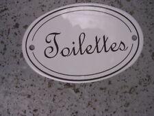 Plaque de porte émaillée OVALE Toilettes émail véritable 800°C Fabr. France NEUF