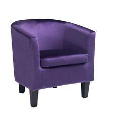Antonio Velvet Tub Chair in Purple