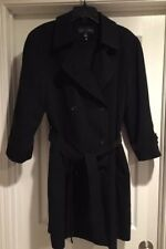 Gallery Trench Coat Double Breasted Overcoat Belt Lined Black Women's Size Large