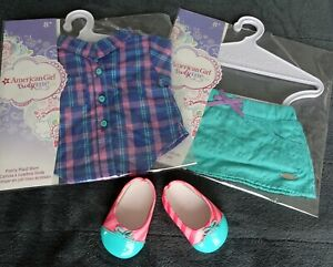 "American Girl 18"" Doll Clothes New Pretty Plaid Shirt, Star Quilt Skirt, Shoes"