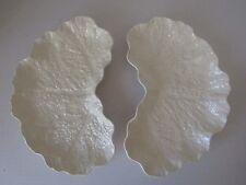 2 NEW Spode Imp. England Ivory Porcelain Crescent Dishes Cabbage Leaf Pattern