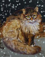 "SIBERIAN CAT 16x20"" Oil Painting Winter Snow Snowflakes Original Art M.Creese"