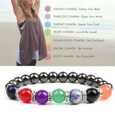 Chakra Healing Beaded Bracelet  Magnetic Therapy Hematite Stone Bracelet   I.