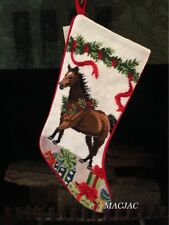 Brown Horse Needlepoint Christmas Stocking NWT