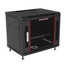 """9U 24"""" Wall Server Rack Cabinet (Fan, Shelf, Legs, Brash Cable Entry) Free"""