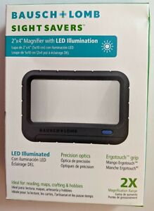 Bausch & Lomb Handheld Magnifier,Led,2 X 4 In #628006 Made in USA  *New*