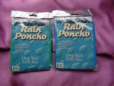 "DELUXE Hooded Nylon Emergency Rain Poncho Blue  Green 50"" -52"" x 80"""
