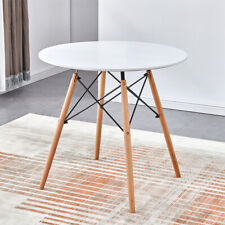 Modern Wood Dining Table Round Wood-Like Metal Legs Breakfast Kitchen Home New
