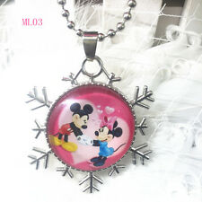 Disney mickey mouse Cabochon round glass Pendant silver Chain necklace QL03 #