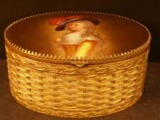New listing Lg 19 c Bronze Porcelain Kpm Portrait Plaque Painted Jewelry Dresser Trinket Box