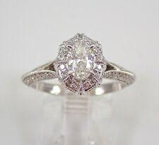 Halo Engagement Ring Size 7 Free Sizing 14K White Gold 1.00 ct Oval Diamond