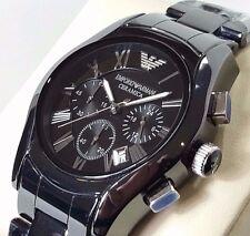 Orologio Cronografo Uomo ARMANI AR1400 Ceramica Nero e Silver ORIGINALE NUOVO