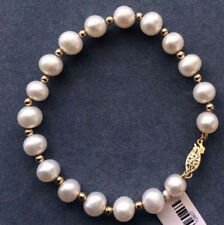 Natural 8-9mm South Sea Genuine White Cultured Pearl Bracelet 7.5''