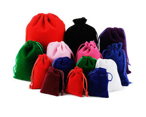 10-100pcs Velvet Drawstring Gift Bag Wedding Jewellery Candy Party Pouch Bags UK
