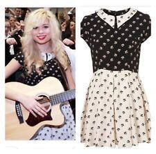 Topshop Black White Contrast Floral Peter Pan Collar Vtg Skater Tea Dress 12 8 M