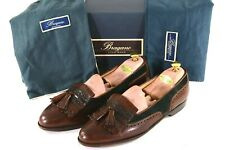Cole Haan BRAGANO 11.5M Green Suede w/ Brown Leather & Croc Trim Tassel Loafers
