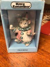 Vtg Schmid Kitty Cucumber Cat Figurine 1985 Juggling Clown Pink Blue