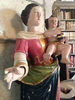 XVIII-XIX Statue Vierge Marie Enfant Jesus Salvator Mundi statue Bois polychrome