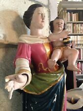XVIIIe Statue Vierge Marie Enfant Jesus Salvator Mundi statue Bois polychrome