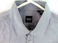BOSS Hugo Boss Size Medium Regular Fit Dress Shirt Gray Long Sleeve