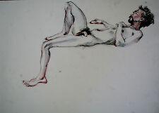 DESSIN-MINE DE PLOMB-ETUDE-MANIERISTE-NU-HOMME-ACADEMIQUE-ATELIER-3/19-LAVIS-