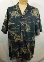 Howie Fashion Made in Hawaii Black/Beige Chart of the Hawaiian Islands sz XXL