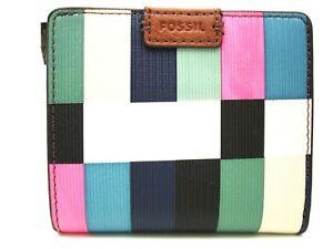 Authentic New Fossil Emma Mini Bi-Fold Wallet Bright Multi Blue Green SL7