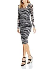 BNWT SANDWICH CLOTHING WOMENS LONG SLEEVE BLACK WHITE STRIPE PENCIL DRESS UK 12