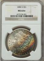 1880-S $1 Morgan Dollar NGC MS64 STAR - Beautiful Colorful RARE Rainbow Toning
