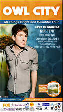 """OWL CITY """"ALL THINGS BRIGHT & BEAUTIFUL TOUR"""" MANILA, PHILIPPINES CONCERT POSTER"""