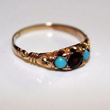 Edwardian Garnet Turquoise 9ct Rose Gold Ring size T ~ 9 3/4