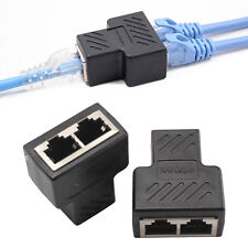 RJ45 Y Verteiler Adapter Splitter Netzwerk Kabel Doppler 1 bis 2 Dual Port