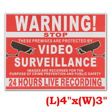 WARNING SIGN 24 HOUR VIDEO SURVEILLANCE CCTV CAMERA RECORD SAFETY VINYL